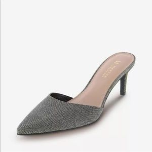Gliver shimmer mule heel.
